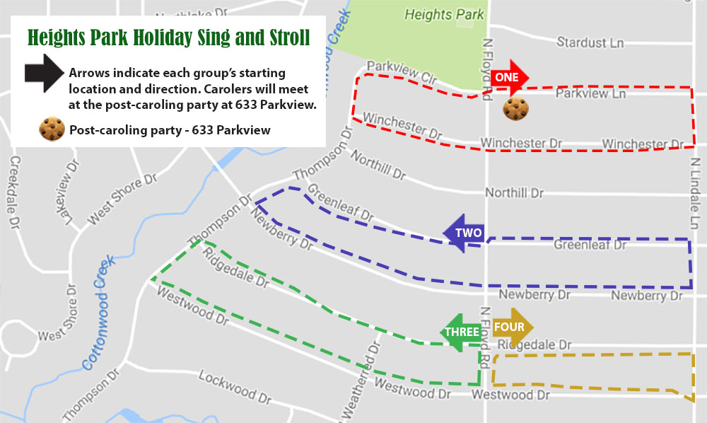 holiday sing and stroll map